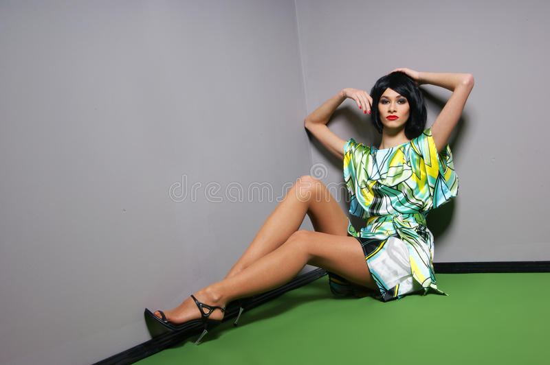 Download Fashion Shoot Of A Young Woman In A Green Dress Stock Photo - Image of body, fantasy: 19542870