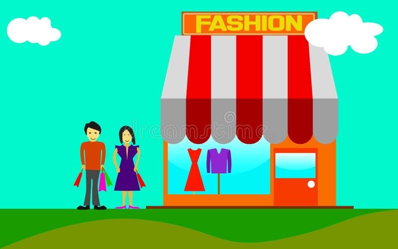 Fashion shop exterior royalty free illustration