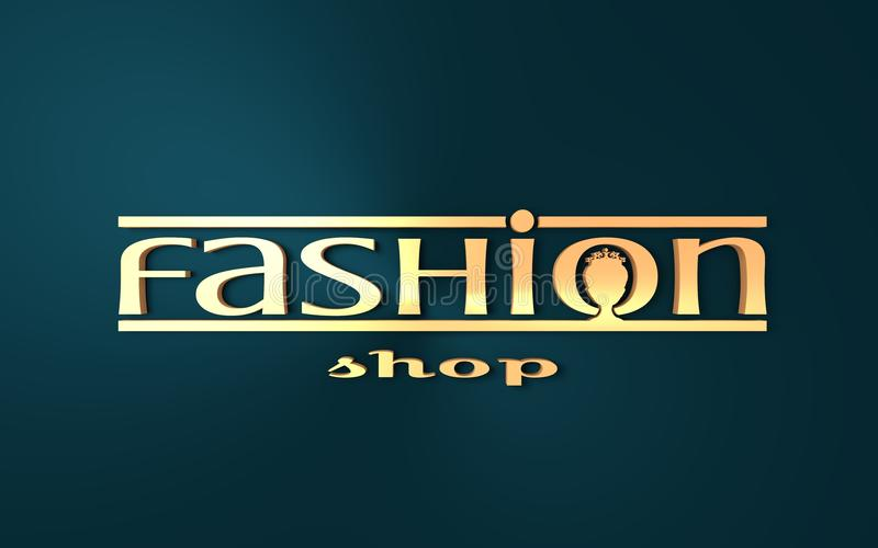 Fashion shop logo design. Creative emblem for company identity. Queen silhouette. 3D rendering stock illustration