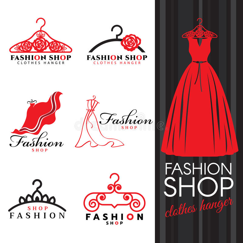 Free Fashion Shop Logo - Red Dress And Clothes Hanger Logo Vector Set Design Stock Photography - 78173932