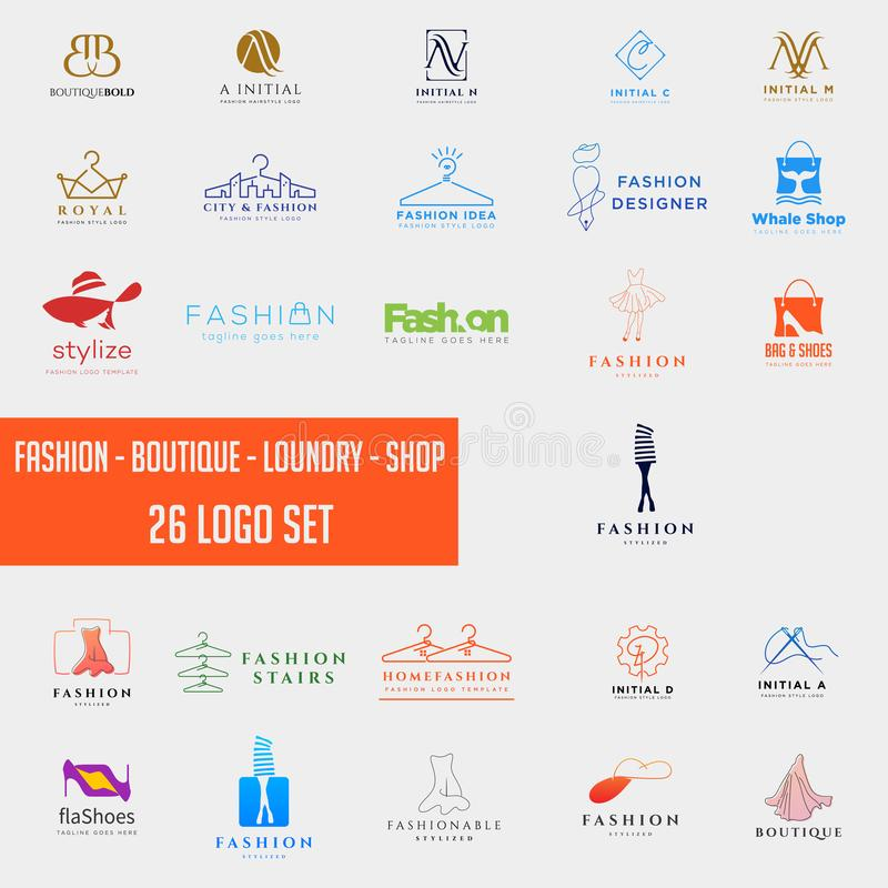 Fashion shoping simple logo collection set template vector illustration icon element. Fashion logo set mega download royalty free stock image