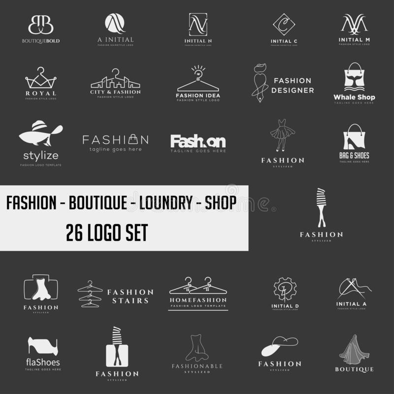 Fashion shoping simple logo collection set template vector illustration icon element. Fashion logo set mega download royalty free stock photo
