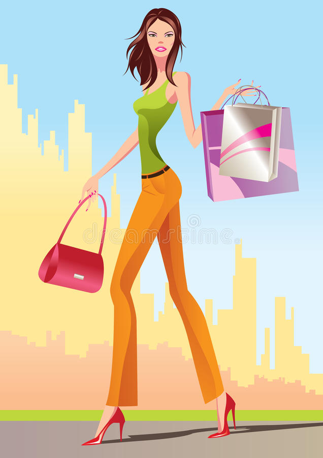 Download Fashion Shopping Girls With Shopping Bag Stock Photo - Image: 14389890