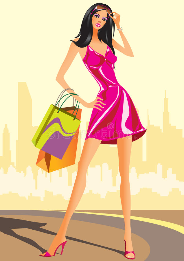 Download Fashion Shopping Girls With Shopping Bag Stock Vector - Illustration of gifts, luxury: 16287516
