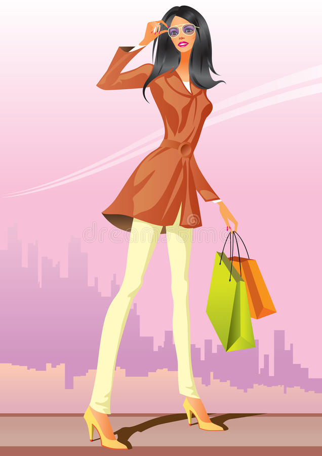 Download Fashion Shopping Girls With Shopping Bag Stock Vector - Image: 16487881