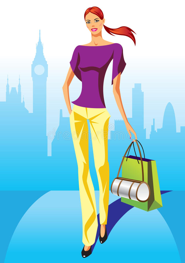Fashion shopping girls with shopping bag in London vector illustration