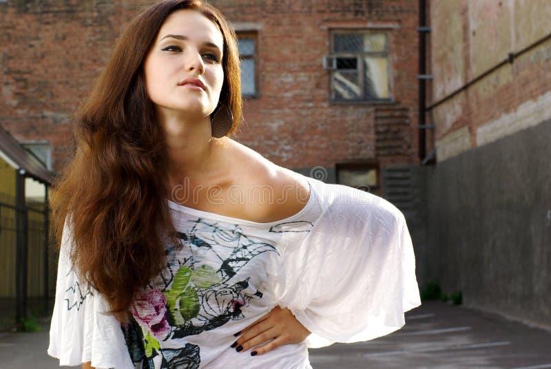 Fashion shot of beautiful model royalty free stock photos
