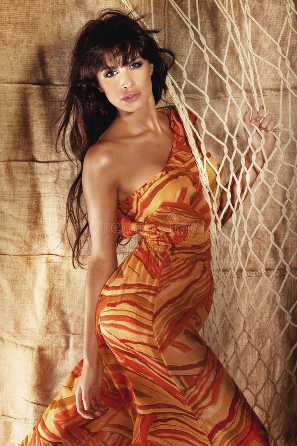 Download Fashion Shot Of Beautiful Young Brunette Woman Posing In Colorfu Stock Photo - Image: 29596240