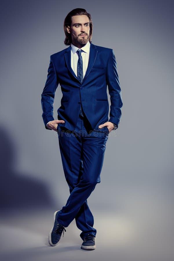 Elegant blue suit stock images