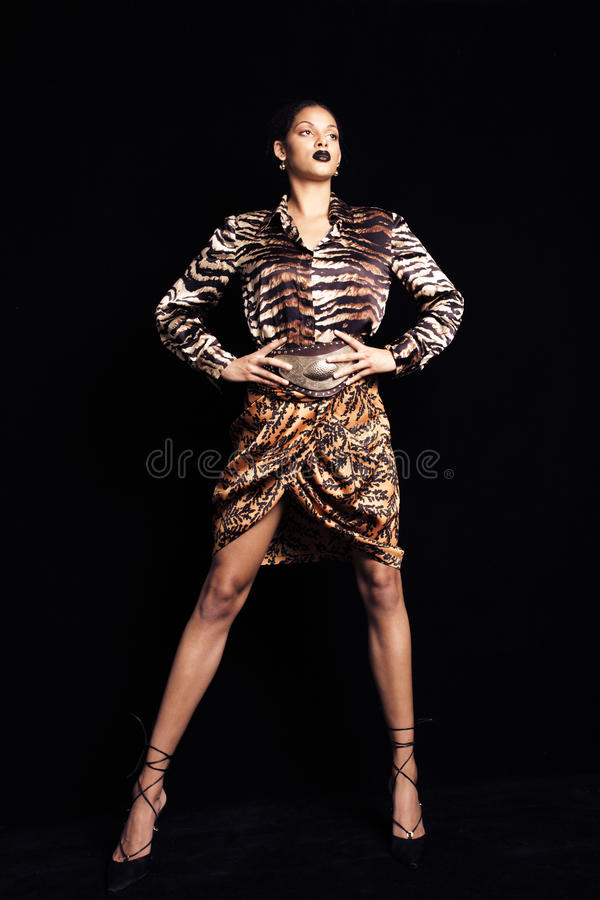 Fashion shot of young beautiful black woman in animal print ski royalty free stock images