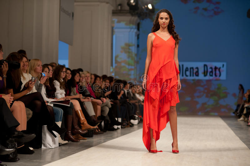 Fashion show. KIEV, UKRAINE - OCTOBER 14: Fashion model wears clothes created by Olena Dats at the Ukrainian Fashion Week on Oct. 14, 2011 in Kiev, Ukraine stock photography