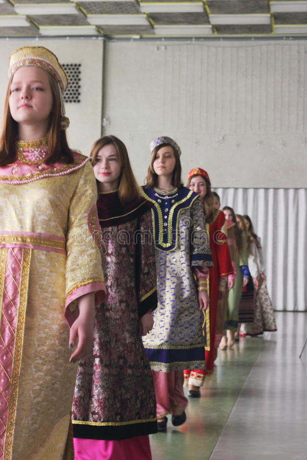 Fashion show of the ancient Kievan Rus' stock image