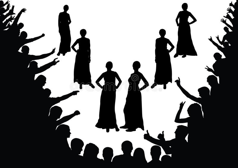 Fashion show, beauty contest. Model, girls, fans, the crowd stock illustration