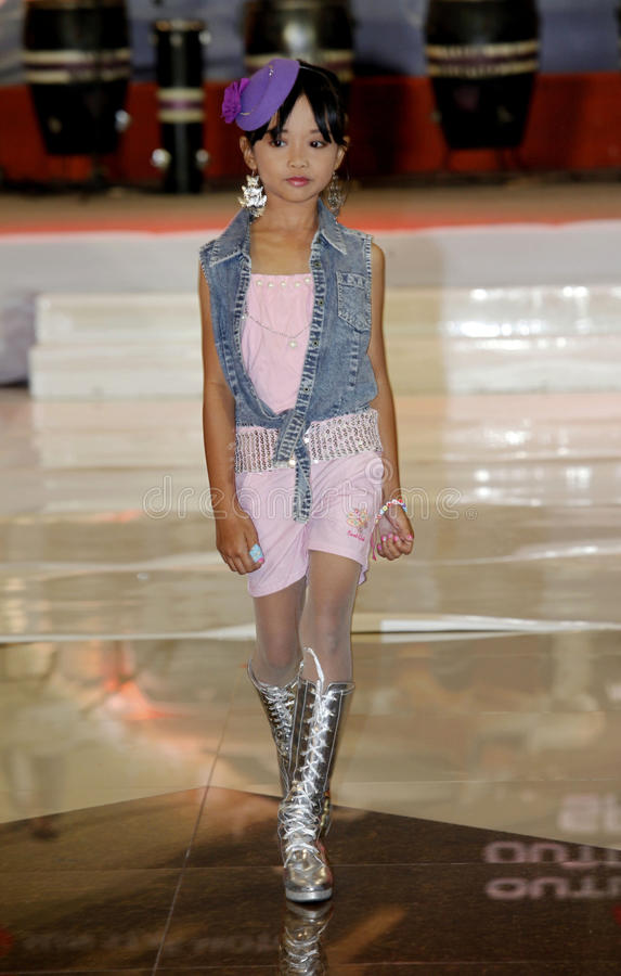Fashion show. The children featured in the fashion show contest in the city of Solo, Central Java, Indonesia stock image