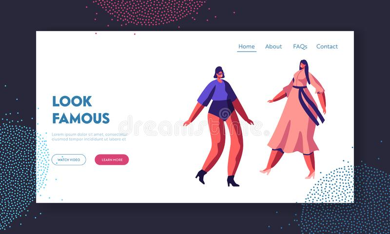 Fashion Show Event Website Landing Page. Young Girls in Trendy Look Walking on Catwalk Demonstrating New Collection royalty free illustration
