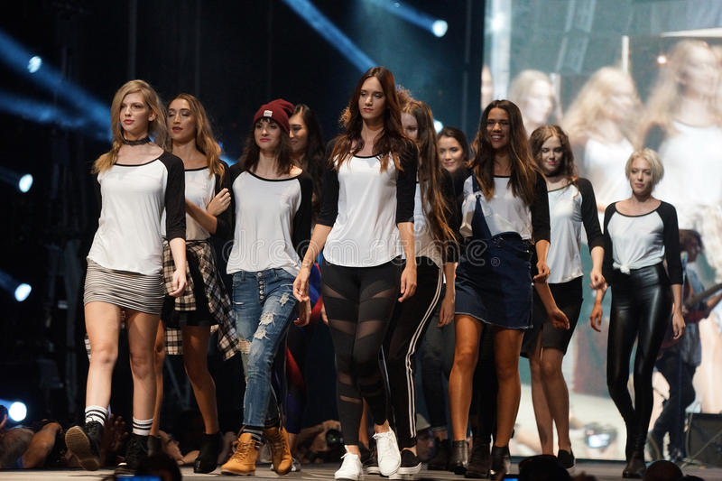 Fashion show. Models showing off the Ardene collection at an outdoor fashion show at the Festival Mode et Design in Montreal stock images