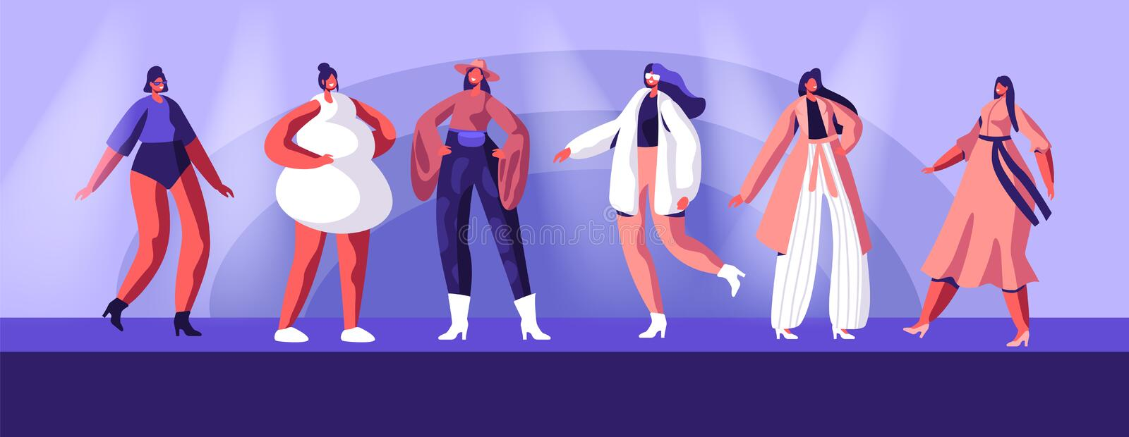 Fashion Show with Top Models Wearing Trendy Haute Couture Clothing and Demonstrating It on Runway. Girls in Trendy Clothing stock illustration