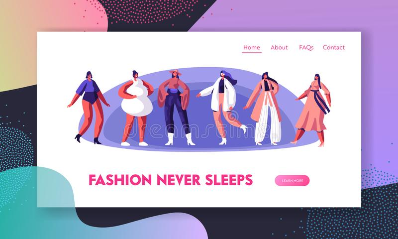 Fashion Show with Top Models Website Landing Page. Girls Wearing Modern Haute Couture Clothing Demonstrating on Runway stock illustration