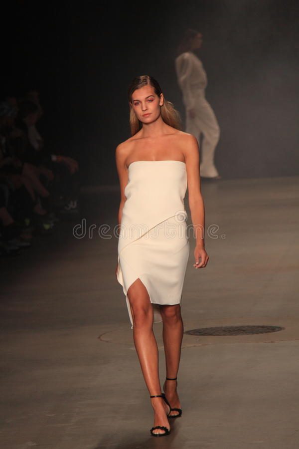 Fashion show Tony Cohen amsterdam fashion week. Model on the runway showing clothes of the dutch designer tony cohen at the mercedes benz fashion week amsterdam royalty free stock images