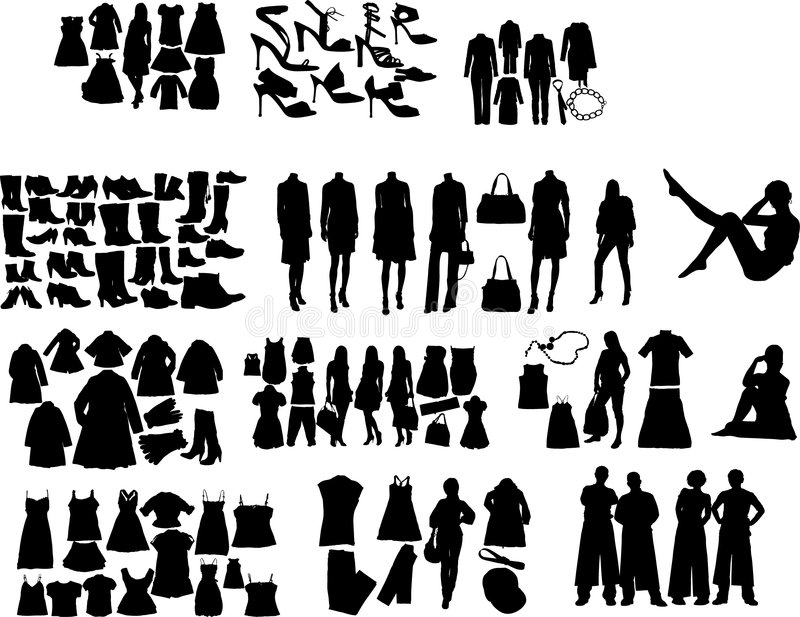 Download Fashion  silhouettes stock vector. Image of elements, clothes - 6905815