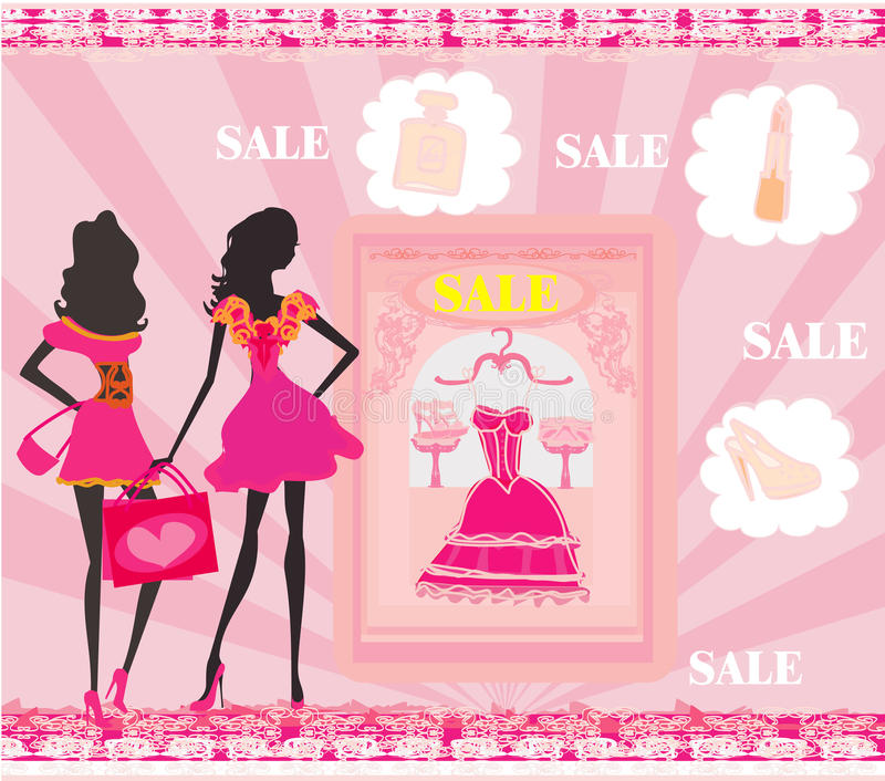 Fashion silhouettes girls Shopping vector illustration
