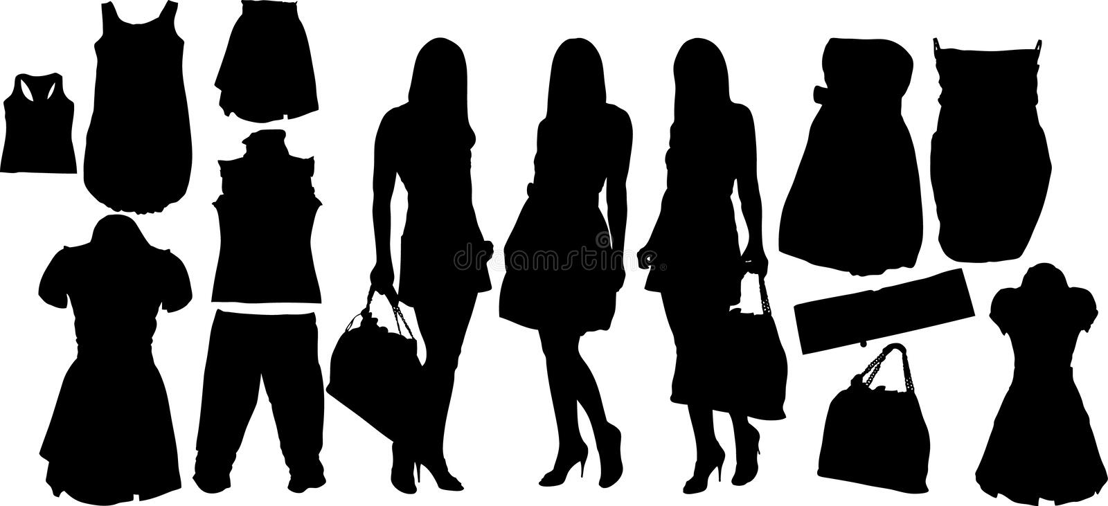 Fashion silhuettes royalty free illustration