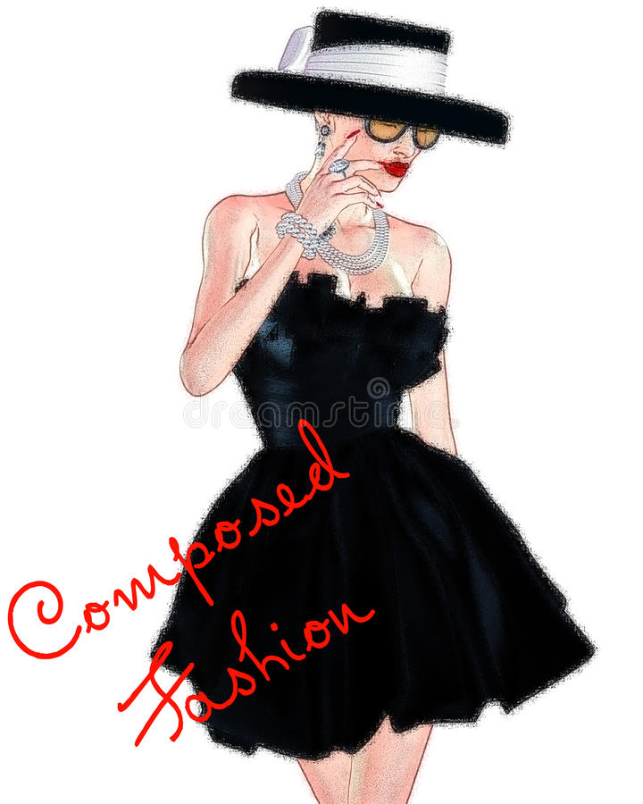 Fashion sketch,attractive woman in vintage style black dress and hat in our 3d render digital art style. vector illustration