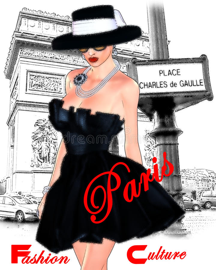 Fashion sketch,attractive woman in vintage style black dress and hat in our 3d render digital art style. royalty free illustration