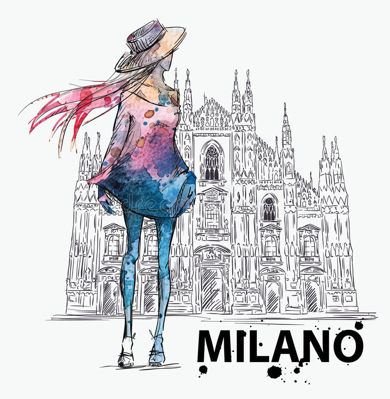 Fashion sketch. Girl on a Milano Duomo background stock illustration