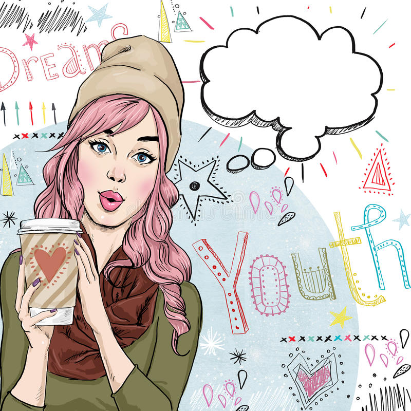 Fashion sketch illustration of girl with coffee cup in the hand with speech bubble. vector illustration
