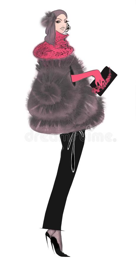 Fashion Sketch Woman in Retro Manto stock illustration