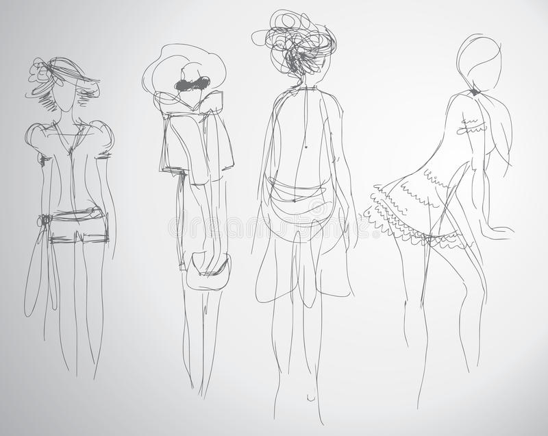 Fashion sketches royalty free illustration