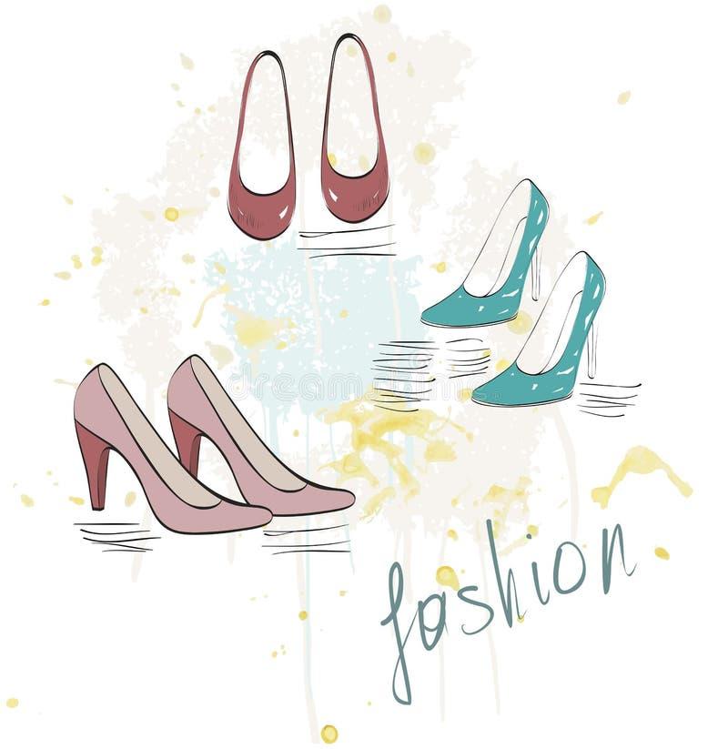 fashion skor vektor illustrationer