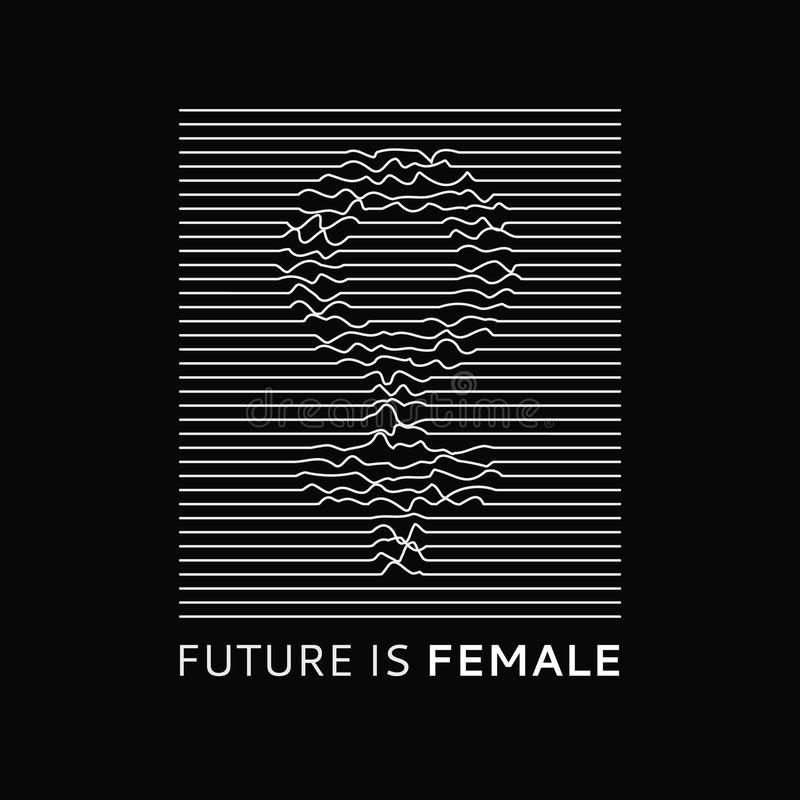 Fashion slogan Future is Female. Feminist slogan, roath lines, design t-shirt print or embroidery, patches. Typography vector illustration