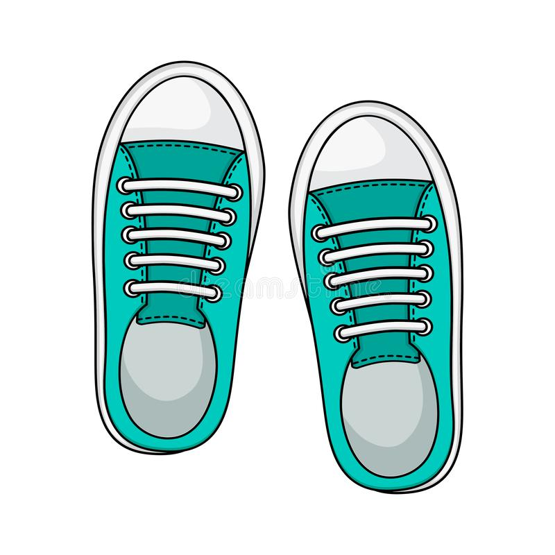 Fashion sneakers icon isolated on white background, mint color. Casual youth shoes. Vector. Illustration stock illustration