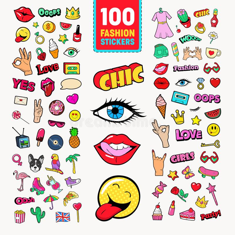 Fashion Stickers and Badges with Lips, Hands and Comic Speech Bubble. Teen Style Doodle. Vector illustration stock illustration