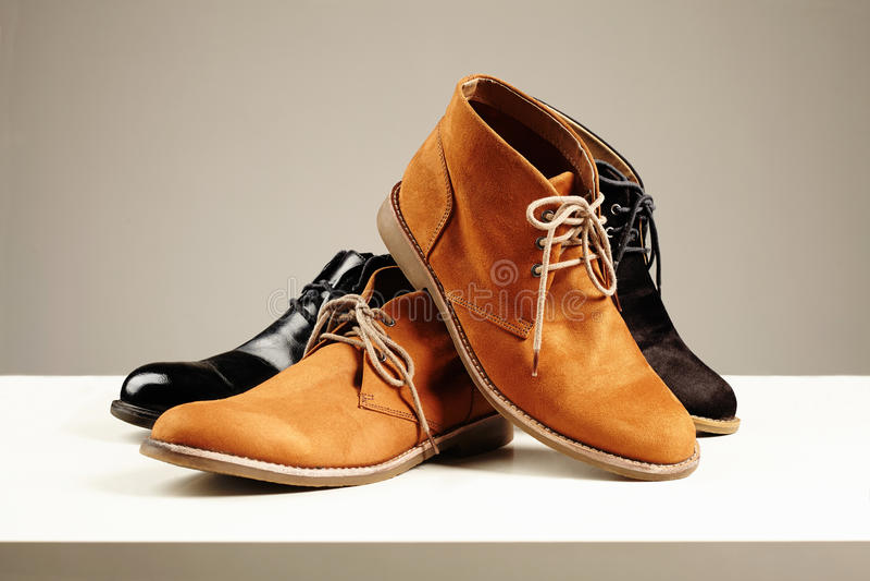 Fashion still life men boots shoes stock photos