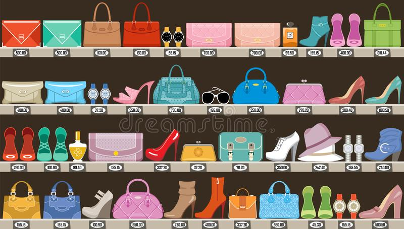 Fashion store. Boutique of accessories, bags and footwear royalty free illustration