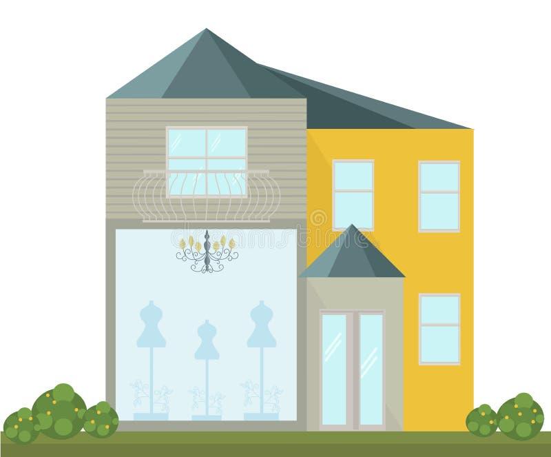 Fashion Store facade vector modern architecture building vector illustration