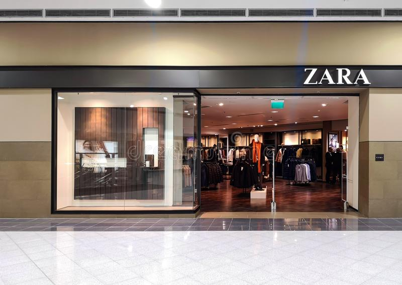 Fashion store Zara in a shopping center. November 13, 2019, St. Petersburg, Russia. Model, mall, clothing, retail, beautiful, purchase, boutique, consumer royalty free stock photo