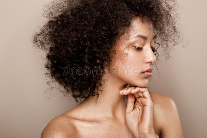 Fashion studio portrait of beautiful african american woman royalty free stock photos