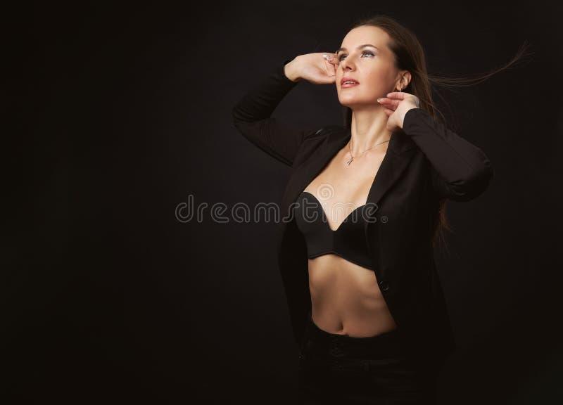 Fashion studio portrait of beautiful lady stock photography