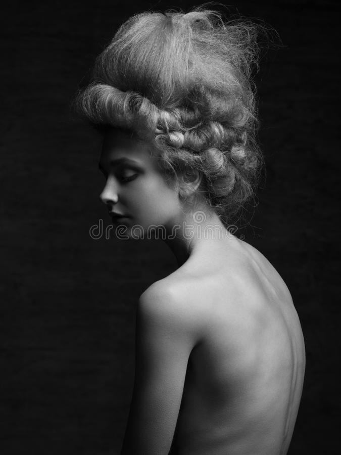 Woman with retro hairstyle royalty free stock images
