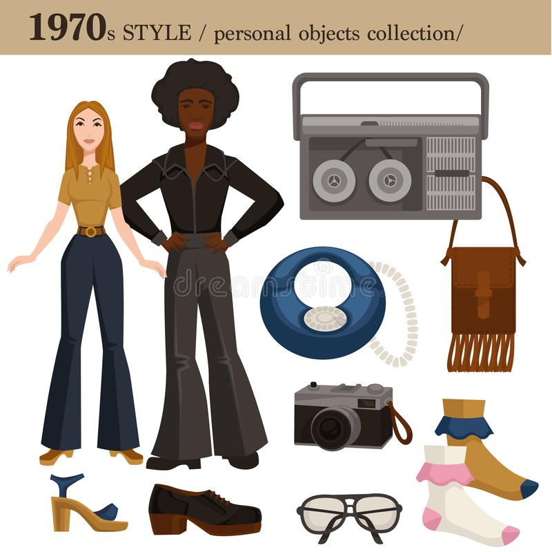 1970 fashion style man and woman personal objects. 1970 fashion style of man and woman clothes garments and personal objects collection. Vector disco and hippie vector illustration