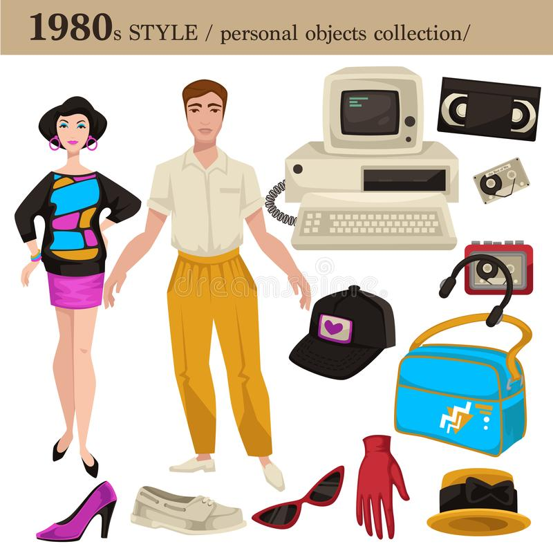 1980 fashion style man and woman personal objects. 1980 fashion style of man and woman clothes garments and personal objects collection. Vector dress or suit vector illustration