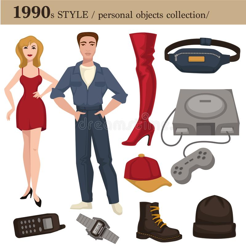 1990 fashion style man and woman personal objects. 1990 fashion style of man and woman clothes garments and personal objects collection. Vector dress or suit vector illustration