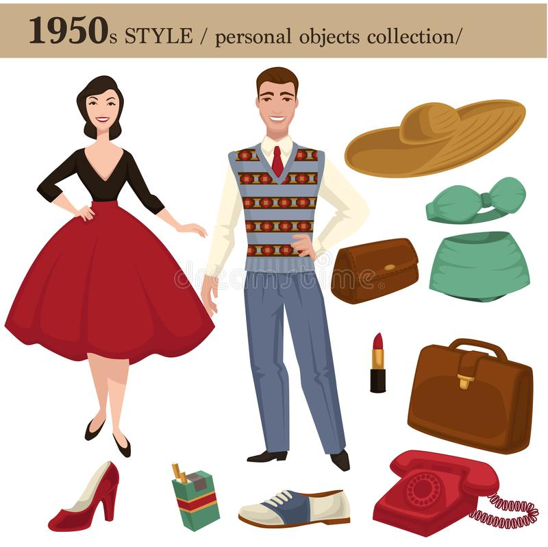 1950 fashion style man and woman personal objects. 1950 fashion style of man and woman clothes garments and personal objects collection. Vector retro dress or stock illustration