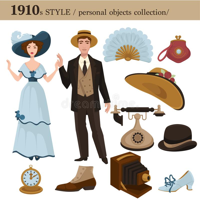 1910 fashion style man and woman personal objects. 1910 fashion style of man and woman clothes garments and personal objects collection. Vector dress or suit stock illustration