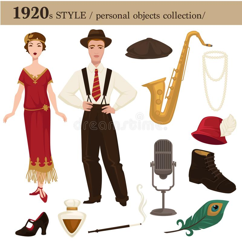 1920 fashion style man and woman personal objects. 1920 fashion style of man and woman clothes garments and personal objects collection. Vector dress or suit royalty free illustration
