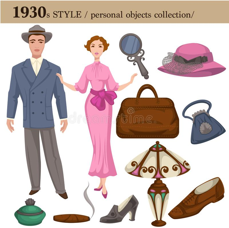 1930 fashion style man and woman personal objects. 1930 fashion style of man and woman clothes garments and personal objects collection. Vector retro dress or vector illustration